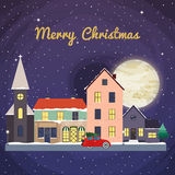 Christmas background with fairy tale houses. Winter landscape. V. Ector Christmas card Royalty Free Stock Photos