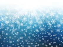 Christmas background of falling snowflakes. And stars vector illustration