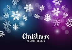 Christmas background with falling snowflakes. Vector illustration Stock Photos