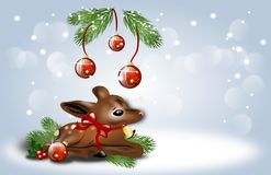 Christmas background with fawn Royalty Free Stock Images