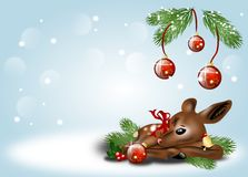 Christmas background with fawn Royalty Free Stock Photos