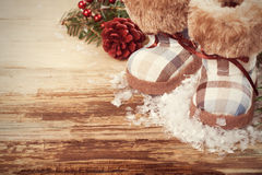 Christmas background with felt boots Royalty Free Stock Photos
