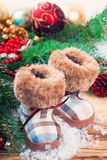 Christmas background with felt boots Stock Photography