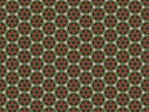 Christmas background with felt flowers of red petals and green leaves and a pattern of blue and gold beads stock photo