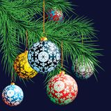 Christmas background. Festive balloons. Vector illustration Royalty Free Stock Images