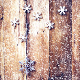 Christmas background with festive decorations and falling snow o Stock Photography