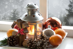 Christmas. Background with festive decorations and lantern Stock Photography