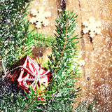 Christmas background with festive decorations, red gift box and Royalty Free Stock Photography
