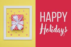 Christmas background. Festive winter holidays backdrop. Beautifully wrapped christmas present. royalty free stock images