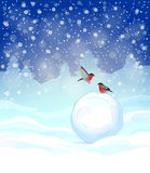 Christmas background. Festive Christmas background with winter landscape, snowflakes, big snowball and bullfinches Royalty Free Stock Images