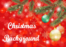 Christmas Background with Fir and Balls Royalty Free Stock Images