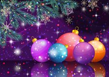 Christmas Background with Fir and Balls. Christmas Holiday Background. Fir Branches, Toy Balls, Snowflakes and Stars. Vector Royalty Free Stock Images