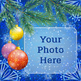 Christmas Background with Fir and Balls. Background for Christmas Holiday Design, Green Fir Coniferous Branches, Colorful Glass Balls with Floral Pattern, Frame Stock Images