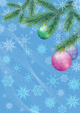Christmas Background with Fir and Balls. Background for Christmas Holiday Design, Green Fir Coniferous Branches, Glass Balls and Outline Snowflakes. Eps10 Stock Photos