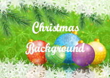 Christmas Background with Fir and Balls. Background for Christmas Holiday Design, Green Fir Coniferous Branches, Glass Balls and Snowflakes. Eps10, Contains Stock Photos