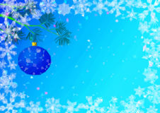Christmas Background with Fir and Balls Royalty Free Stock Photography