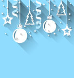 Christmas background with fir, balls, stars, streamer, trendy fl Royalty Free Stock Photo