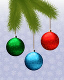 Christmas background with fir branch and balls. Vector illustration.  Stock Photos