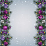 Christmas background with fir branch border and decoration. Christmas background with fir branch border with Christmas balls, ribbons and Christmas decorations Royalty Free Stock Image