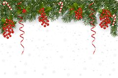 Christmas background with fir branch border and decoration. Christmas background with fir branch border with berry, ribbons and Christmas decorations Stock Photo