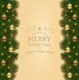 Christmas background with fir branch border and decoration. Christmas background with fir branch border and lights. Decorative Christmas festive background Stock Image