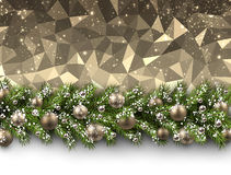 Christmas background with fir branch. Christmas golden geometric background with fir branch and balls. Vector illustration Stock Image