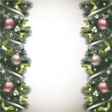 Christmas background with fir branch and mistletoe border. Ribbons and Christmas decorations Stock Images