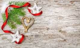 Christmas background with fir branch and ribbon Stock Photography