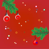 Christmas background with fir branche. S, toys and confetti Royalty Free Stock Image
