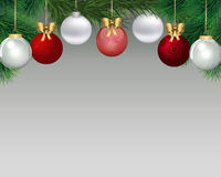 Christmas background. Christmas background with fir branches and balls Royalty Free Stock Photo