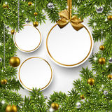 Christmas background with fir branches and balls. Royalty Free Stock Images