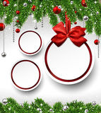 Christmas background with fir branches and balls. Royalty Free Stock Photos
