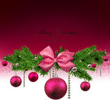 Christmas background with fir branches and balls. Magenta christmas background with fir twigs and balls. Vector illustration Royalty Free Stock Images