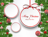 Christmas background with fir branches and balls. Stock Photography