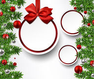Christmas background with fir branches and balls. Christmas paper balls with fir twigs and red bubbles. Vector background Stock Photos
