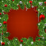 Christmas background with fir branches and balls. Christmas red frame background with fir twigs and balls. Vector illustration Royalty Free Stock Photo