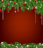 Christmas background with fir branches and balls. Stock Photo