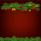Christmas background with fir branches and balls. Christmas red background with fir twigs and balls. Vector illustration Stock Images