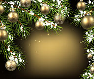 Christmas background with fir branches. Background with fir branches, Christmas balls and snow. Vector illustration Stock Images