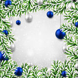 Christmas background with fir branches and balls. Christmas background with fir twigs and blue balls. Vector illustration Royalty Free Stock Photography