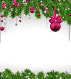 Christmas background with fir branches and balls. Christmas background with fir twigs and magenta balls. Vector illustration Stock Photo