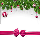 Christmas background with fir branches and balls. Christmas background with fir twigs and magenta balls. Vector illustration Royalty Free Stock Photography