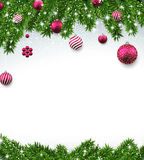 Christmas background with fir branches and balls. Christmas background with fir twigs and magenta balls. Vector illustration Royalty Free Stock Image