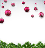Christmas background with fir branches and balls. Christmas background with fir twigs and magenta balls. Vector illustration Stock Images