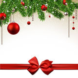 Christmas background with fir branches and balls. Stock Image