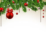 Christmas background with fir branches and balls. Stock Images