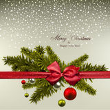 Christmas background with fir branches and balls. Royalty Free Stock Photography