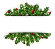 Christmas background with fir branches and balls. Christmas background with fir twigs and red balls. Vector illustration Royalty Free Stock Images