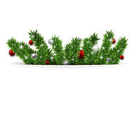 Christmas background with fir branches and balls. Christmas background with fir twigs and red balls. Vector illustration Stock Images
