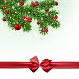 Christmas background with fir branches and balls Stock Images